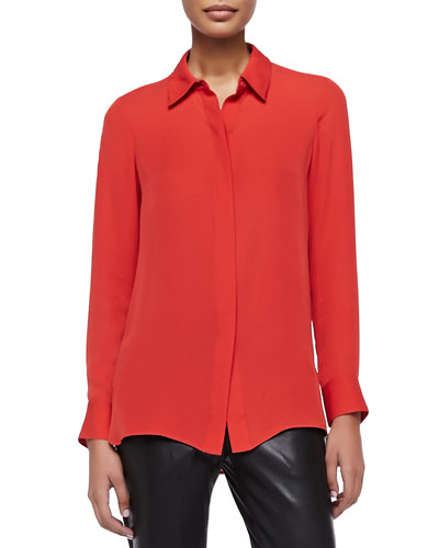 Vince Long-Sleeve Silk Blouse, Tomato
