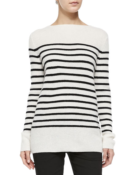 Vince Cashmere Striped Ribbed Sweater, Off White/Black