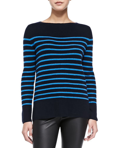 Vince Cashmere Ribbed Striped Sweater, Coastal/Ocean