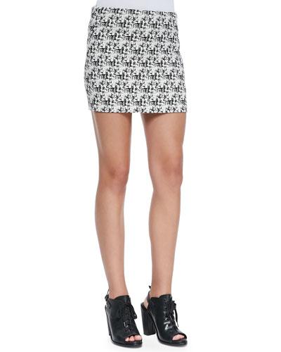 Alice + Olivia Elana Tweed-Print Miniskirt