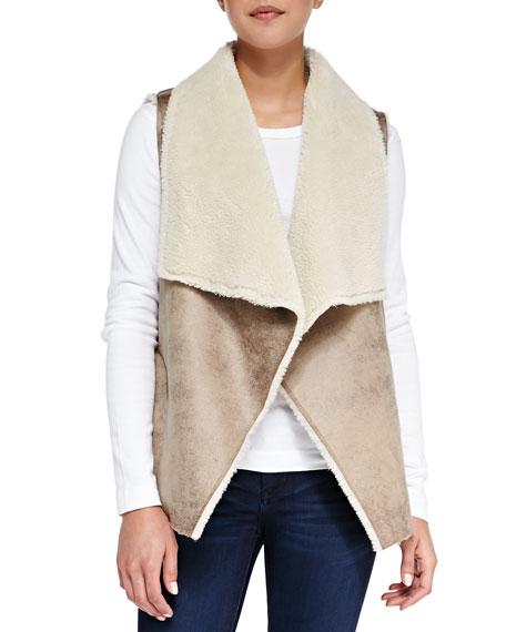 Faux-Fur Open-Front Vest, Camel