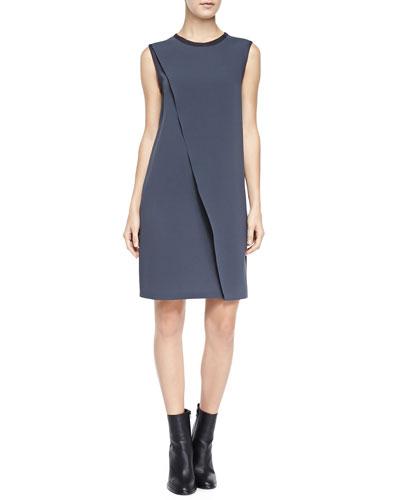 Vince Sleeveless Asymmetric Laser-Cut Dress