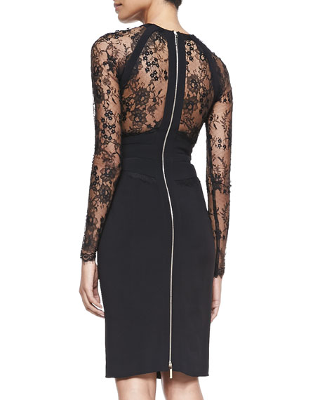 Sheath Dress with Long Lace Sleeves