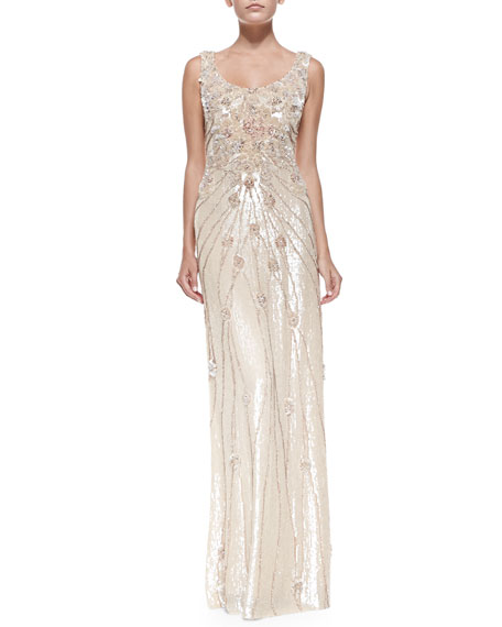 Floral Beaded & Sequined Gown, Peach