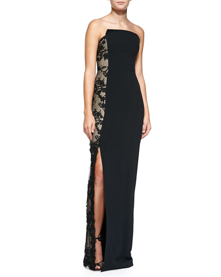 Strapless Gown with Chantilly Lace, Black