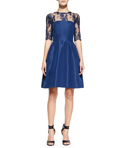 Monique Lhuillier Silk Faille Dress with Chantilly Lace Sleeves, Navy