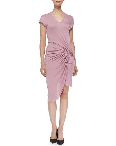 Helmut Lang V-Neck Jersey Dress W/ Twist, Rind
