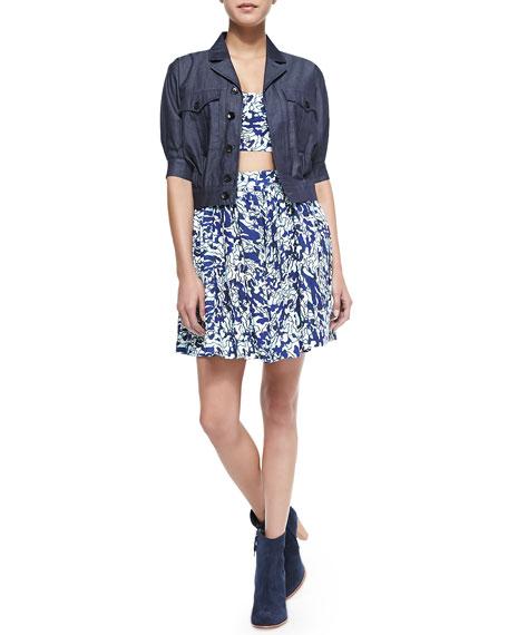 Buri Water-Print Ruffle Skirt