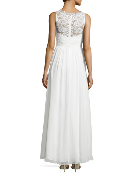 Sleeveless Lace Illusion-Neck Gown, Ivory