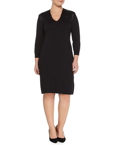 Marina Rinaldi Ginger Knit Dress W/ Leatherette Yoke,