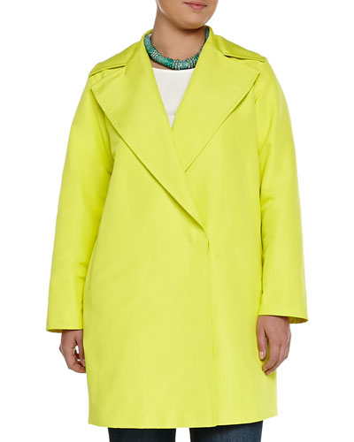Tabares Double-Breasted Faille Overcoat, Women's