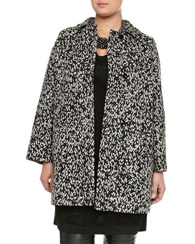 Tulipano Metallic Animal-Print Overcoat, Women