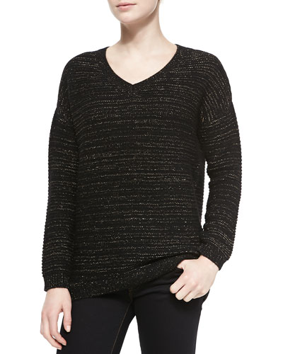 Neiman Marcus Metallic Cashmere-Blend Sweater