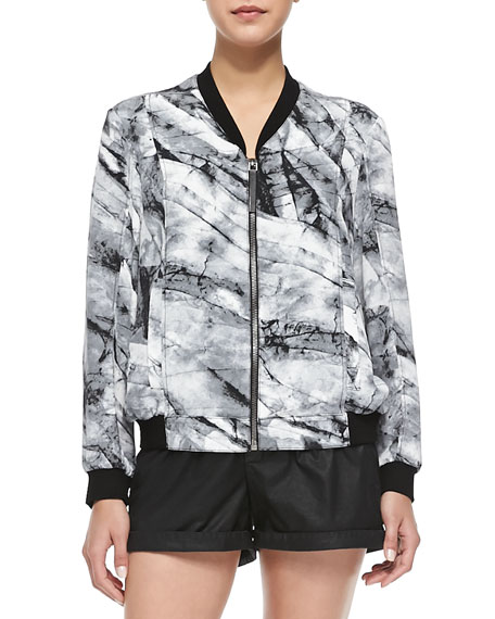 Terrene Silk Marble-Print Bomber Jacket