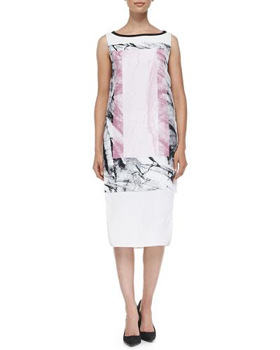 Helmut Lang Mason Marble-Print Dress W/ Cutaway Sides