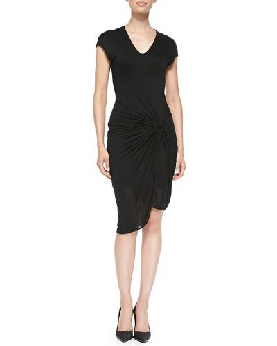 Helmut Lang V-Neck Jersey Dress W/ Twist, Black