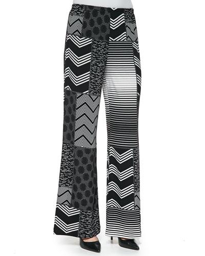 Patchwork-Print Wide-Leg Pants, Women's