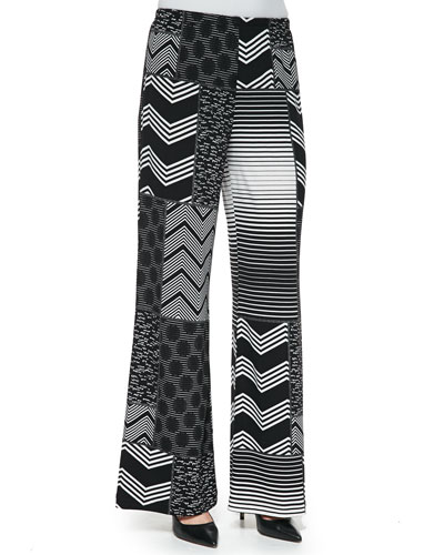 Patchwork-Print Wide-Leg Pants