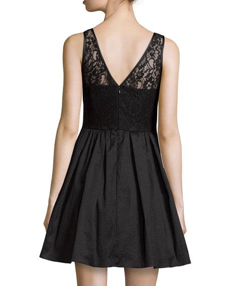 Lace Top Party Dress, Black