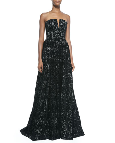 Axmis Lace Strapless Bustier Gown