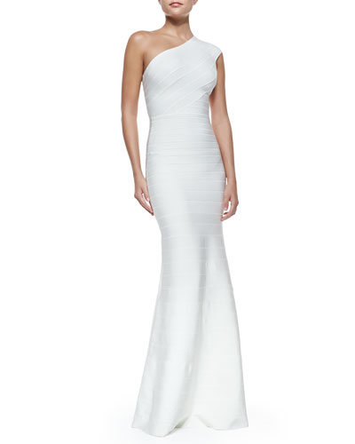 Herve Leger One-Shoulder Bandage Mermaid Gown