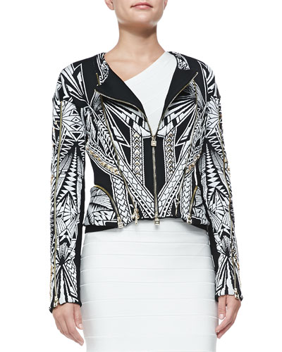 Herve Leger Cropped Multi-Zip Jacket