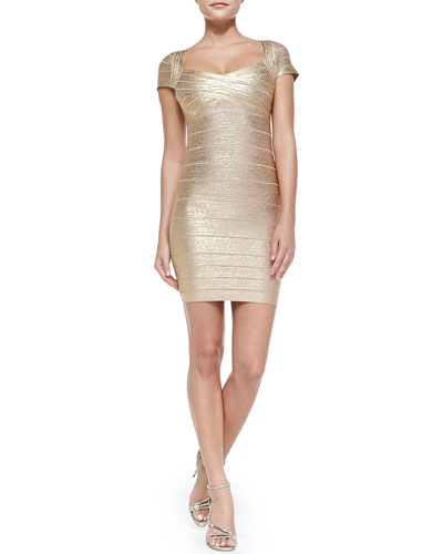 Herve Leger Cap-Sleeve Metallic Bandage Dress, Gold