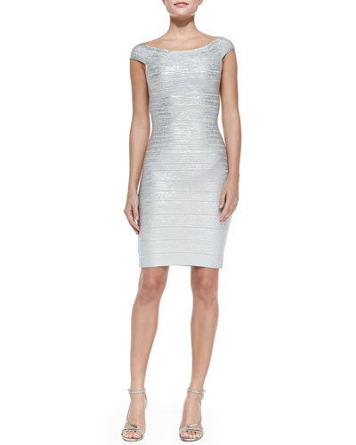 Herve Leger Off-the-Shoulder Metallic Sheath Dress, Silver