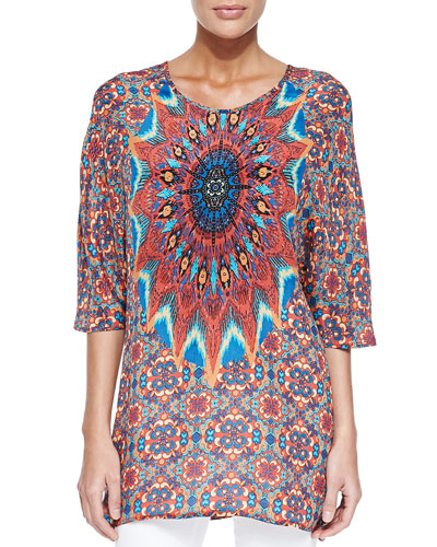 Kristy Printed 3/4-Sleeve Tunic , Women
