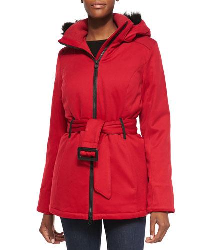 Cortina Fur-Hood Parka, Red