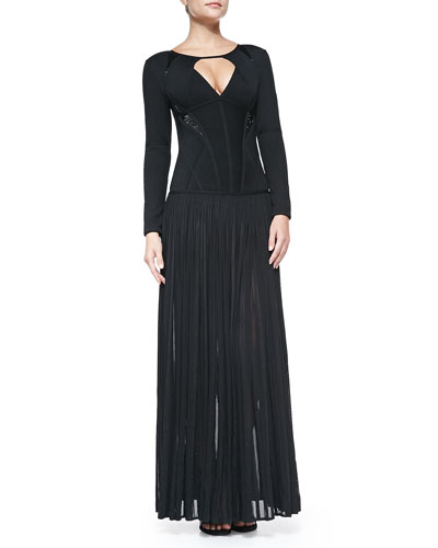 Herve Leger Long-Sleeve Bandage Gown W/ Keyhole