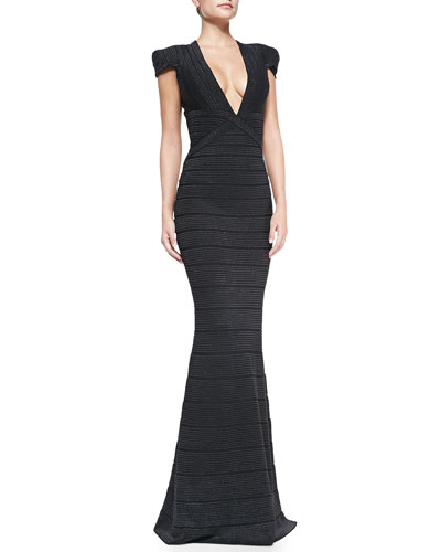 Herve Leger Beaded Cap-Sleeve Mermaid Gown