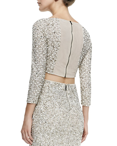 4639b18d07fe12 Alice + Olivia Lacey Beaded Sequined Crop Top