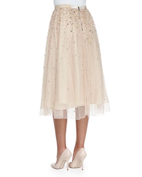 Rina Bead-Embellished Tulle Skirt