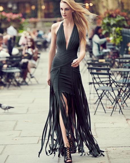 Rebekah Fringe Halter Gown