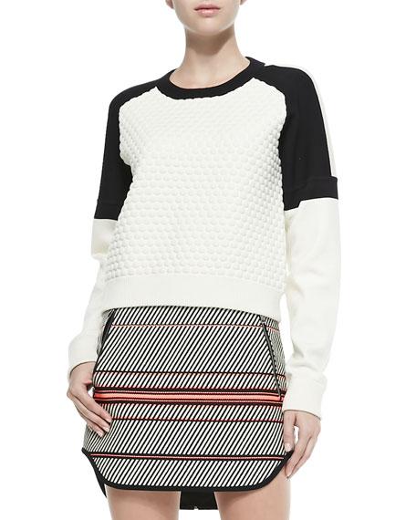 Kelsie Textured Dropped-Sleeve Sweatshirt