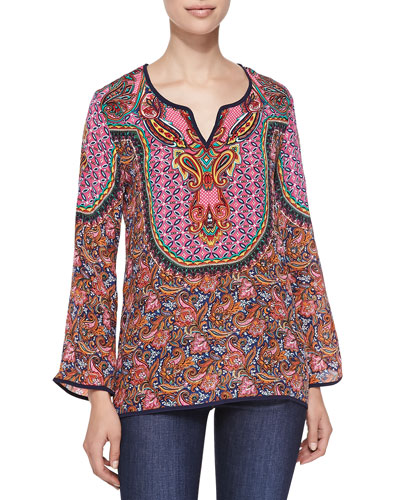 Salina Silk Printed Tunic, Orange, Women