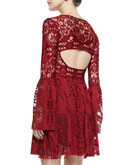 Lace Lovers Bell-Sleeve Dress