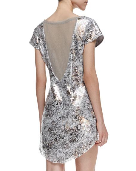 Shattered Glass Short-Sleeve Sequined Dress