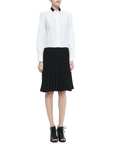 Rag & Bone Courcheval Shirtdress W/ Pleated Contrast Skirt