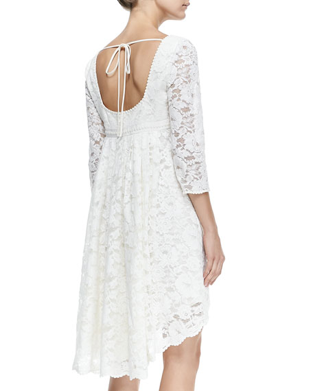Trianon Lace Dress W/ High-Low Hem, Petite