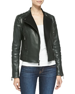 Kristine Lambskin Leather Moto Coat