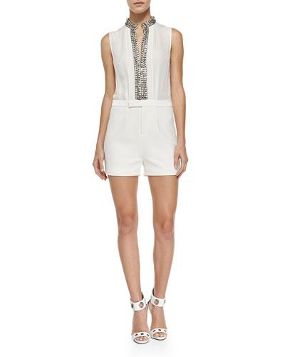 Sleeveless Jumpsuit W/ Embellished Neckline