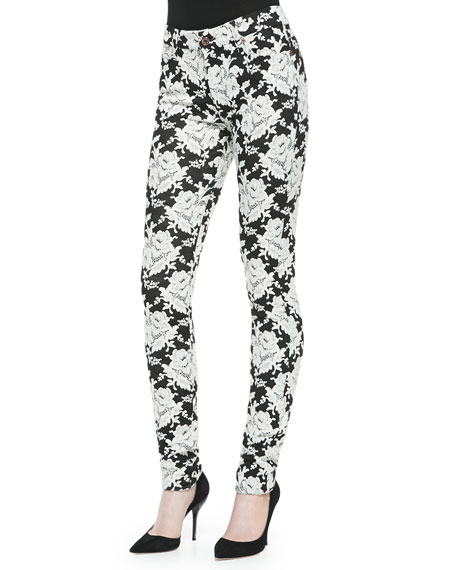 7 For All Mankind High-Rise Skinny Floral Jeans, White Rose