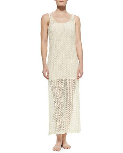 Ramona Crochet Coverup Dress, Natural