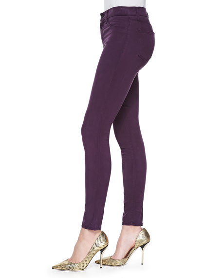 485 Luxe Sateen Mid-Rise Super Skinny Jeans, Syrah
