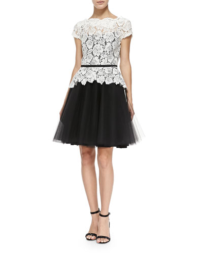 Nha Khanh Quinn Cap-Sleeve Lace Dress
