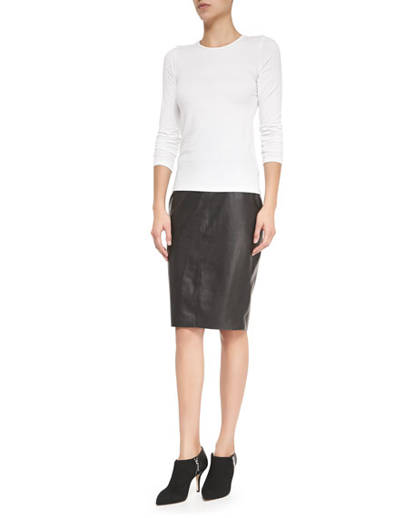High-Waist Faux-Leather Pencil Skirt