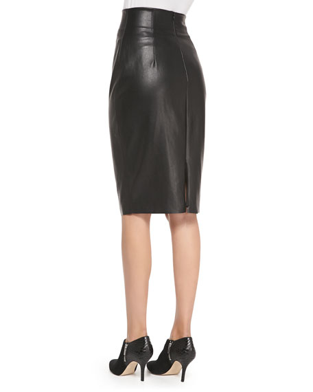 High Waisted Faux Leather Pencil Skirt | Fashion Skirts