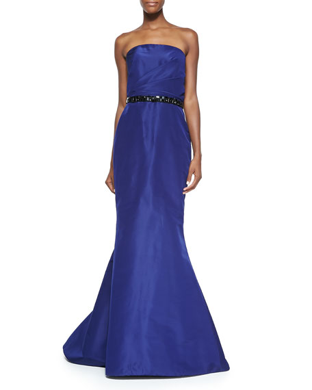 Pamella Roland Strapless Mermaid Gown with Beaded Belt, Navy